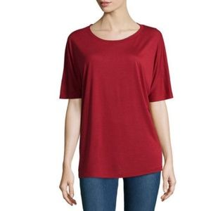 Vince Short Dolman-Sleeve Rayon-Jersey Tee, Claret